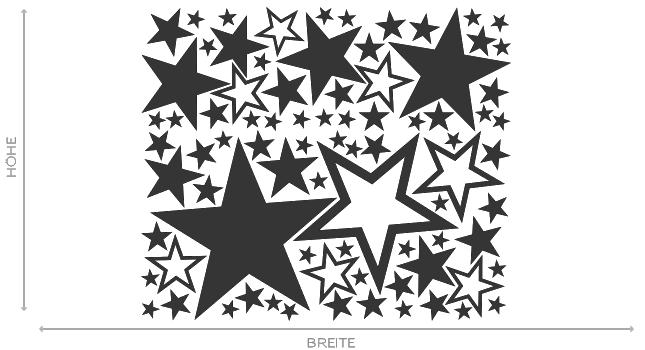 Wandtattoo Sterne Aufkleber Stars Dekorset Wall Art Wand Tattoo #2005