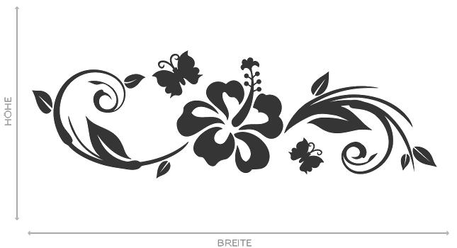 wandtattoo hibiskus schmetterling ranke aufkleber wall. Black Bedroom Furniture Sets. Home Design Ideas