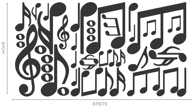 Set S Noten grün Violinschlüssel Notenschlüssel Musik Auto Deko Aufkleber Tattoo